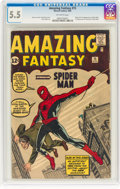 Silver Age (1956-1969):Superhero, Amazing Fantasy #15 (Marvel, 1962) CGC FN- 5.5 Off-white pages....