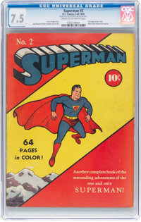 Superman #2 (DC, 1939) CGC VF- 7.5 Cream to off-white pages