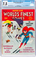 Golden Age (1938-1955):Superhero, World's Finest Comics #4 (DC, 1941) CGC VF- 7.5 Off-white to white pages....