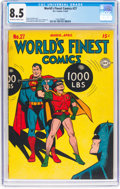 Golden Age (1938-1955):Superhero, World's Finest Comics #27 (DC, 1947) CGC VF+ 8.5 Off-white to white pages....