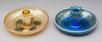 Two Tiffany Studios Favrile Glass Center Bowls with Flower Frogs Circa 1915. Engraved Louis C. Tiffany Furnaces