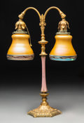 Lighting:Lamps, Steuben Two-Light Gilt Bronze and Glass Table Lamp. Circa 1920. Stenciled (Steuben cipher). Ht. 18-1/2 in.. ...
