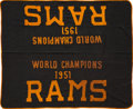Football Collectibles:Others, 1951 Los Angeles Rams Championship Banner Hung at Team Dinner & Ephemera....
