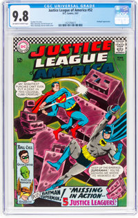 Justice League of America #52 (DC, 1967) CGC NM/MT 9.8 Off-white to white pages
