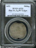 1652 SHILNG Pine Tree Shilling, Large Planchet AU53 PCGS. N-1, Cr. 12-I, R.2. 72.5 gns. The color and surfaces are attra...