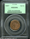 Half Cents: , 1857 1/2 C MS63 Red and Brown PCGS....