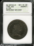 Early Half Dollars: , 1795 50C2 Leaves--Repaired-Whizzed--ANACS AU Details, Net VF30....