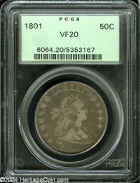 1801 50C VF20 PCGS. O-101, R.3. Lovely olive and golden-rose toning is seen in the fields with lavender accents over the...