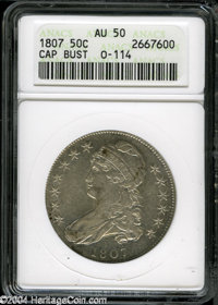 1807 50C Capped Bust, Large Stars AU50 ANACS. O-114, R.3. Light sea-green and powder-blue patina graces this nicely stru...