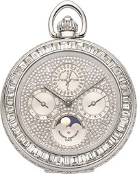Vacheron Constantin, A Very Rare & Unique White Gold, Diamond Perpetual Calendar With Moon Phase Pocket Watch, R...