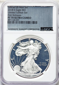 2018-S $1 Silver Eagle, Congratulations Set Uncertified. This coin is still in its original US Mint packaging and sleeve...