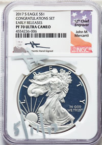 2017-S $1 Silver Eagle, Congratulations Set, Early Releases, Mercanti Signature, PR70 Ultra Cameo NGC. Accompanied by a...