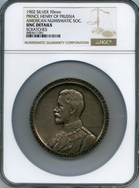 1902 Medal Prince Henry Of Prussia, American Numismatic Soc. -- Scratches -- NGC Details. Unc. Smedley-43, Miller-ANS-14...