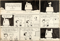 Charles Schulz Peanuts Sunday Comic Strip Charlie Brown, Snoopy and Lucy Original Art 12-30-62 (United Feature Syn