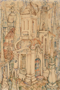 René Portocarrero (1912-1985) Cathedral, 1942 Watercolor on paper laid on board 17-3/4 x 11-7/8 i