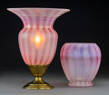 Lighting:Lamps, Two Steuben Oriental Poppy Pink Glass Vases. Circa 1920.. Ht. 12-1/4 in. (taller, lamp). ... (Total: 2 Items)