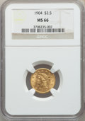 Liberty Quarter Eagles: , 1904 $2 1/2 MS66 NGC. NGC Census: (202/116). PCGS Population: (226/70). MS66. Mintage 160,700. ...