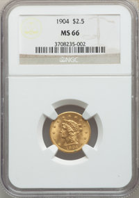 1904 $2 1/2 MS66 NGC. NGC Census: (202/116). PCGS Population: (226/70). MS66. Mintage 160,700. ...(PCGS# 7856)