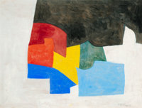 Serge Poliakoff (1906-1969) Composition abstraite, 1958 Gouache on paper 19-1/4 x 25-1/2 inches (