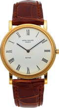 Timepieces:Wristwatch, Patek Philippe, Rare Ref. 3520/0 Calatrava For Beyer, Full Set, circa 1983. ...