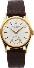 Timepieces:Wristwatch, Patek Philippe, Fine Ref. 96, 18k Yellow Gold Calatrava, Circa 1960. ...