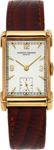 Timepieces:Wristwatch, Vacheron & Constantin, 14k Gold Vintage Rectangular, Manual Wind, circa 1940's. ...