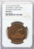 Expositions and Fairs, 1915 Medal Panama-Pacific International Exposition, California ExpoState, Gilt, HK-414, R.6, MS62 Prooflike NGC. NGC Censu...