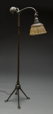 Tiffany Studios Bronze and Glass Linen Fold Counterbalance Floor Lamp Circa 1910