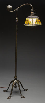 Tiffany Studios Bronze and Glass Linen Fold Counterbalance Floor Lamp Circa 1910. St