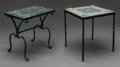 Furniture , Two Tile Top Cast Iron Tables. 20th century. Ht. 19-7/8 x W. 21 x D. 12-7/8 in (larger). ... (Total: 2 Items)