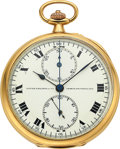 Timepieces:Pocket (post 1900), Patek Philippe & Cie, Very Fine Gold Chronograph With Minute Register, circa 1912. ...