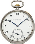 Timepieces:Pocket (post 1900), Patek Philippe & Co. Triple Signed Silver Pocket Watch,Original Box, circa 1928. ...