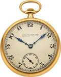 Timepieces:Pocket (post 1900), Patek Philippe & Cie, 18k Gold Gent's Pocket Watch, circa 1920. ...