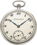 Timepieces:Pocket (post 1900), Patek Philippe & Cie, Fine Platinum Pocket Watch, circa 1923. ...