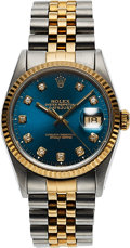 Timepieces:Wristwatch, Rolex, Ref. 16233 DateJust, Steel and Gold, Circa 1991. ...