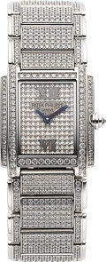 Timepieces:Wristwatch, Patek Philippe, Fine Ref. 4908/50 Twenty4 White Gold And Pave Diamond Ladies Wristwatch Circa 2002. ...
