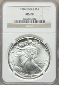 Modern Bullion Coins, 1986 $1 Silver Eagle MS70 NGC. NGC Census: (2232). PCGS Population: (137). MS70. Mintage 5,393,005. ...