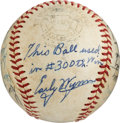 Baseball Collectibles:Balls, 1963 Early Wynn 300th Career Victory Game Used & Cleveland Indians Team Signed Baseball....