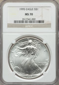Modern Bullion Coins, 1995 $1 Silver Eagle MS70 NGC. NGC Census: (736). PCGS Population: (60). Mintage 4,672,051. ...