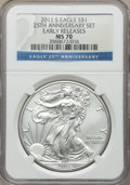 Modern Bullion Coins, 2011-S $1 Silver Eagle, 25th Anniversary, Early Releases MS70 NGC. NGC Census: (18381). PCGS Population: (8147). MS70....