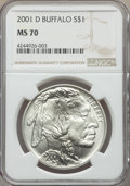 Modern Issues, 2001-D $1 Buffalo MS70 NGC. NGC Census: (2219). PCGS Population: (1864). CDN: $200 Whsle. Bid for problem-free NGC/PCGS MS7...