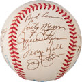 Baseball Collectibles:Balls, 1980's Hall of Famers Multi-Signed Baseball from The Enos Slaughter Collection....