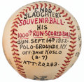Baseball Collectibles:Balls, 1952 Enos Slaughter 1,000th Run Scored Game Used Baseball from TheEnos Slaughter Collection....