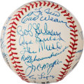 Baseball Collectibles:Balls, 1990's Hall of Famers Multi-Signed Baseball from The Enos Slaughter Collection....