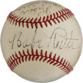 Baseball Collectibles:Balls, 1940's Babe Ruth, Ted Williams, Rabbit Maranville & DomDiMaggio Signed Baseball....