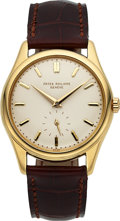 Timepieces:Wristwatch, Patek Philippe, Exceptional and Very Early Ref. 2526, 18k YellowGold, 1st Series Enamel Dial, Circa 1952. ...