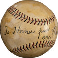 "Baseball Collectibles:Balls, 1930 Babe Ruth ""To Homer"" Single Signed Baseball...."