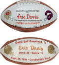Football Collectibles:Others, 1993-94 Eric Davis Signed Presentation Footballs Lot of 2 from The Eric Davis Collection. ...
