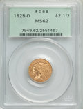 1925-D $2 1/2 MS62 PCGS. PCGS Population: (4188/7235). NGC Census: (6870/9442). MS62. Mintage 578,000. ...(PCGS# 7949)
