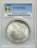 1880 $1 MS66 PCGS. PCGS Population: (208/0 and 27/0+). NGC Census: (39/0 and 2/0+). CDN: $1,500 Whsle. Bid for problem-f...